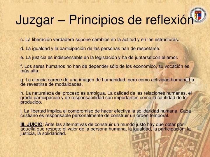 Juzgar – Principios de reflexión