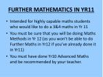 further mathematics in yr11