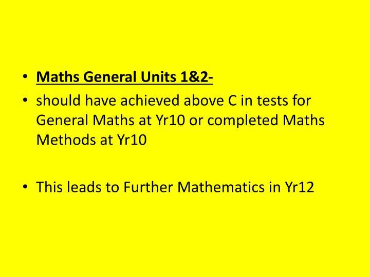 Maths General Units 1&2-