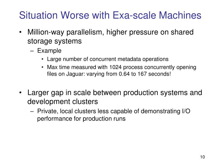 Situation Worse with Exa-scale Machines
