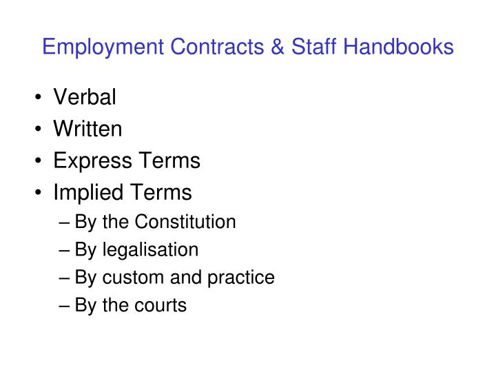 Employment Contracts & Staff Handbooks