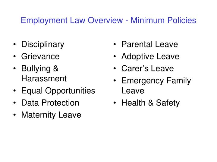 Employment Law Overview - Minimum Policies