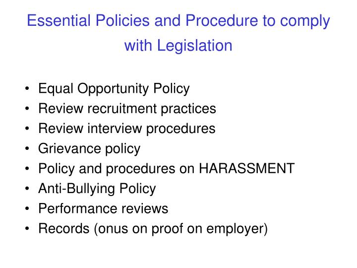 Essential Policies and Procedure to comply with Legislation