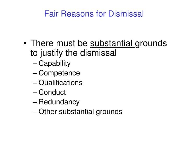 Fair Reasons for Dismissal