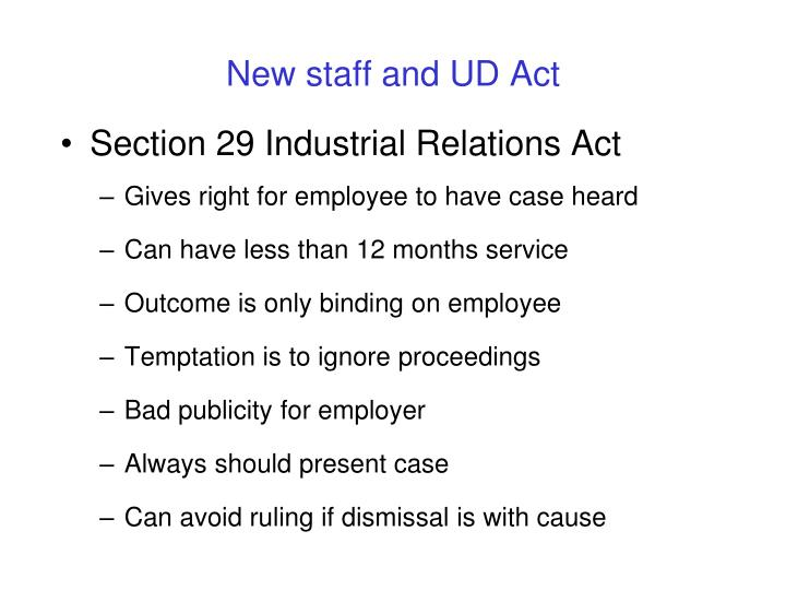 Section 29 Industrial Relations Act