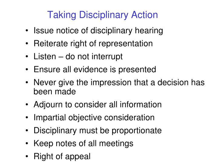 Taking Disciplinary Action