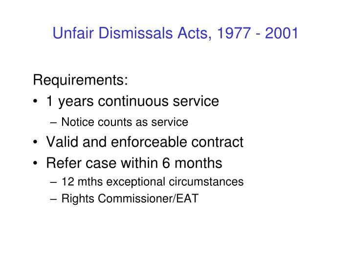 Unfair Dismissals Acts, 1977 - 2001