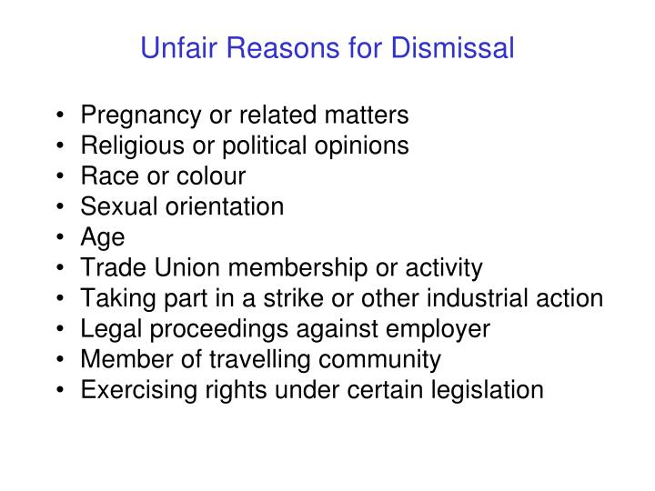 Unfair Reasons for Dismissal