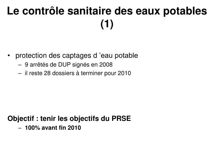 Le contrôle sanitaire des eaux potables (1)