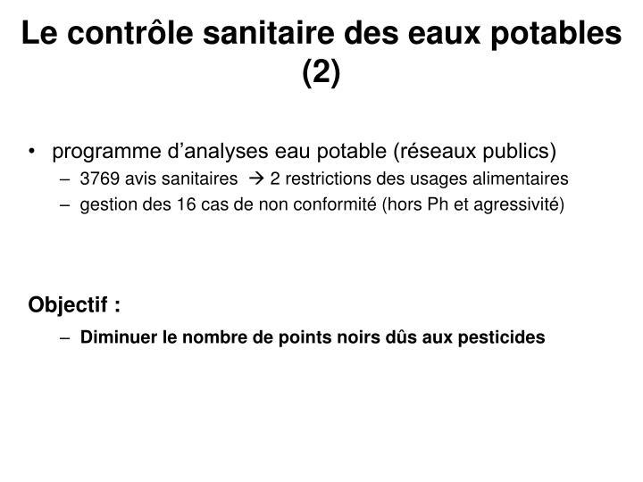 Le contrôle sanitaire des eaux potables (2)