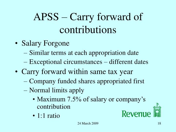 APSS – Carry forward of contributions