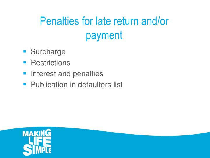 Penalties for late return and/or payment