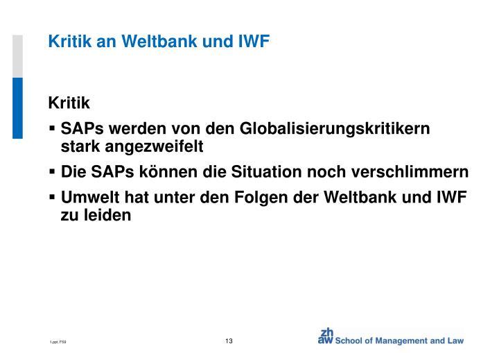 Kritik an Weltbank und IWF
