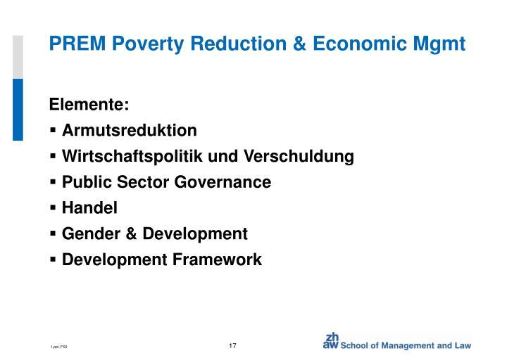 PREM Poverty Reduction & Economic Mgmt