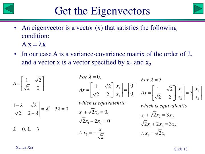 Get the Eigenvectors