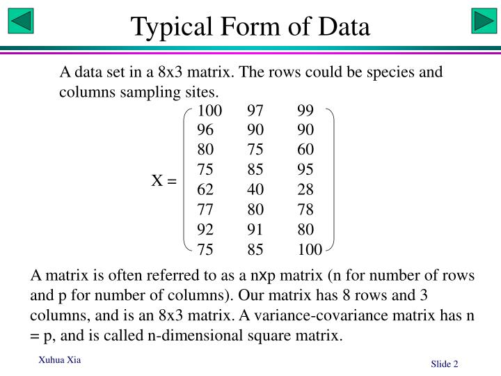Typical form of data