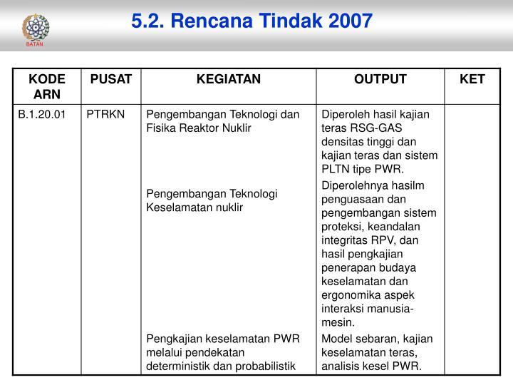 5.2. Rencana Tindak 2007