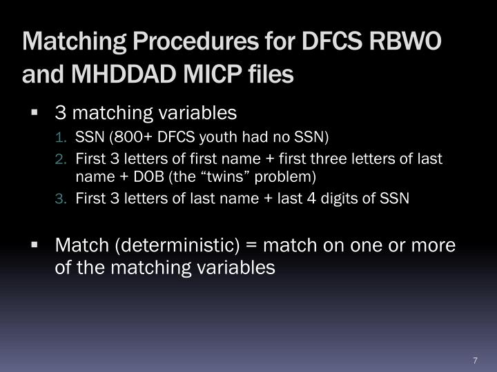 Matching Procedures for