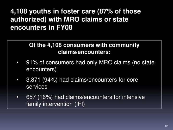 4,108 youths in foster care (87% of those authorized) with MRO claims or state encounters in FY08