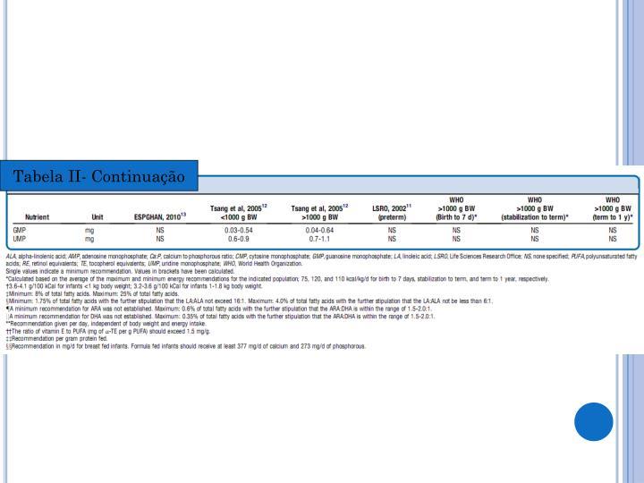 Tabela II- Continuação