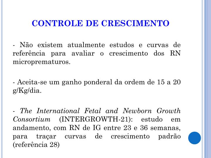 CONTROLE DE CRESCIMENTO