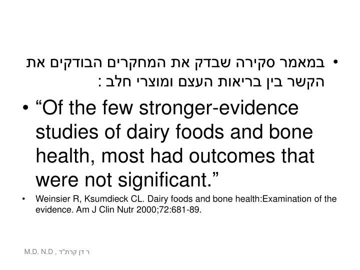 במאמר סקירה שבדק את המחקרים הבודקים את הקשר בין בריאות העצם ומוצרי חלב