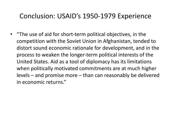 Conclusion: USAID's 1950-1979 Experience