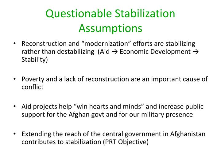 Questionable Stabilization Assumptions