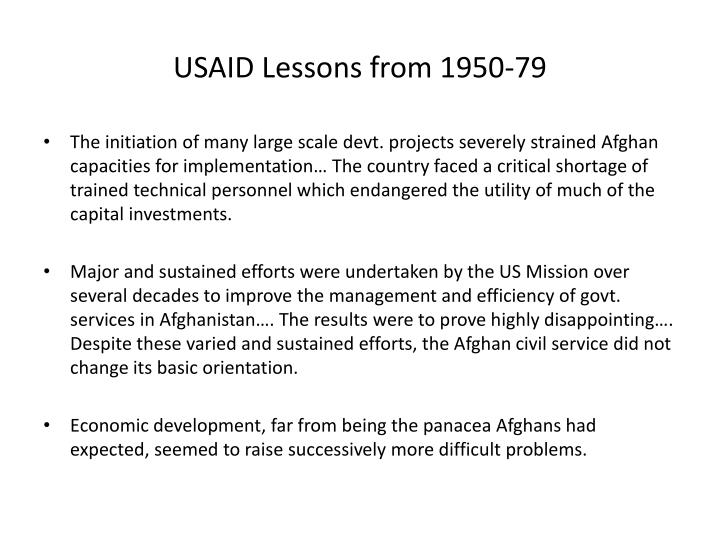 Usaid lessons from 1950 79