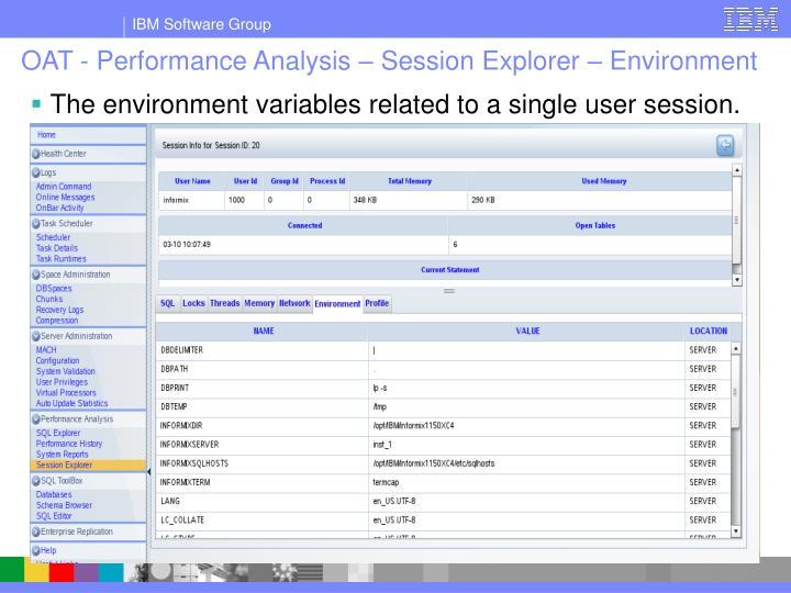 OAT - Performance Analysis – Session Explorer – Environment