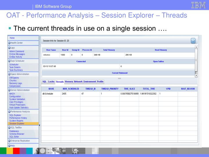 OAT - Performance Analysis – Session Explorer – Threads