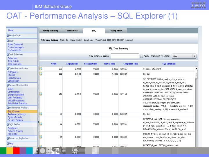 OAT - Performance Analysis – SQL Explorer (1)