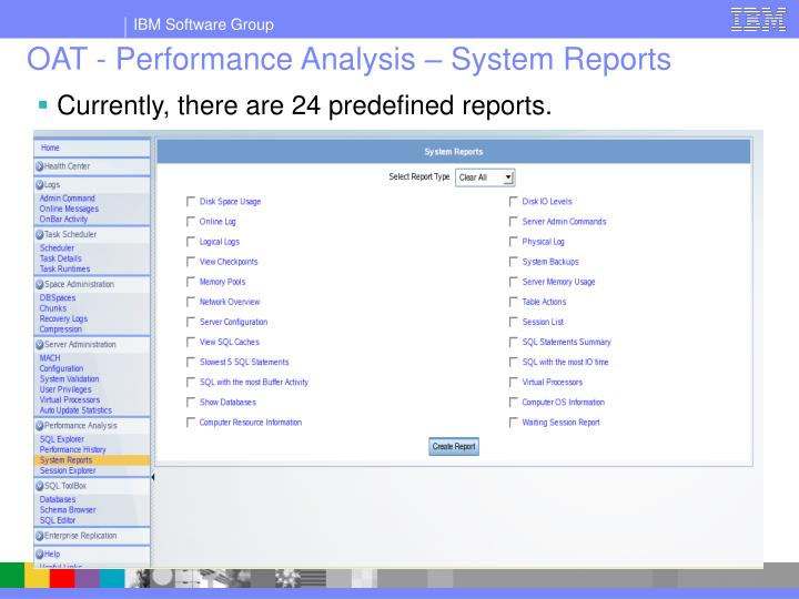 OAT - Performance Analysis – System Reports