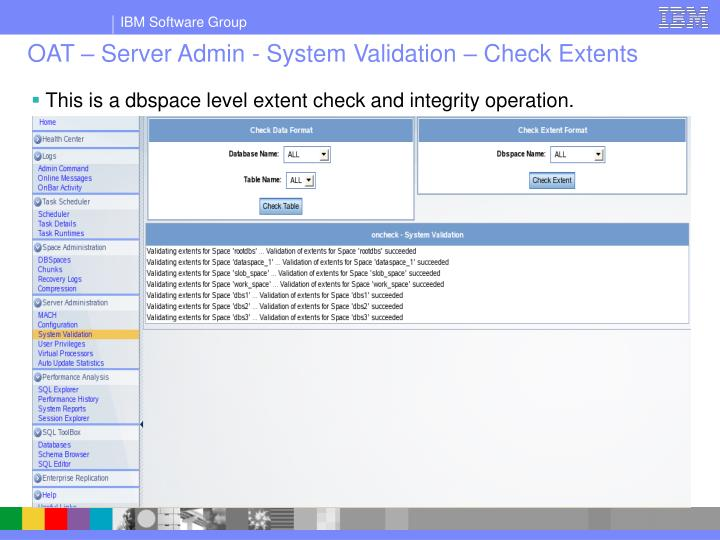 OAT – Server Admin - System Validation – Check Extents
