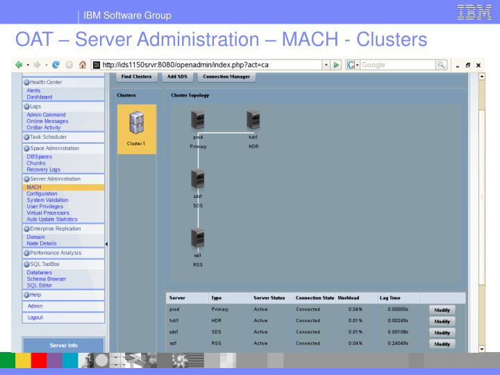 OAT – Server Administration – MACH - Clusters