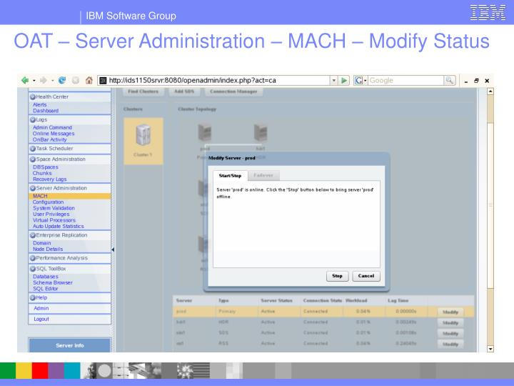 OAT – Server Administration – MACH – Modify Status
