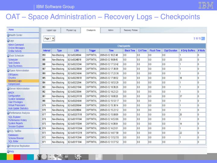 OAT – Space Administration – Recovery Logs – Checkpoints