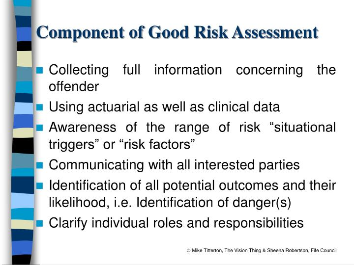 Component of Good Risk Assessment