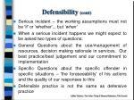 defensibility cont