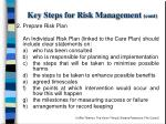 key steps for risk management cont