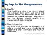 key steps for risk management contd