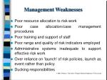 management weaknesses