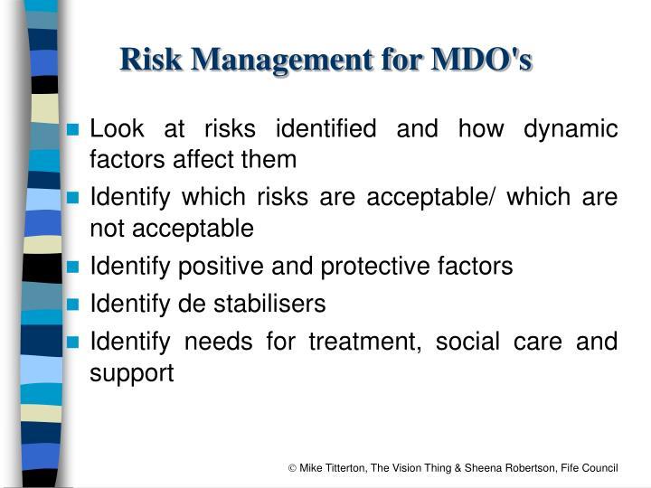 Risk Management for MDO's