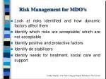 risk management for mdo s