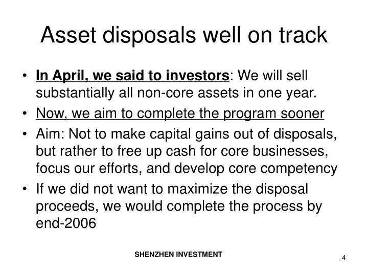 Asset disposals well on track