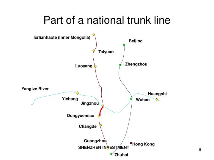 Part of a national trunk line