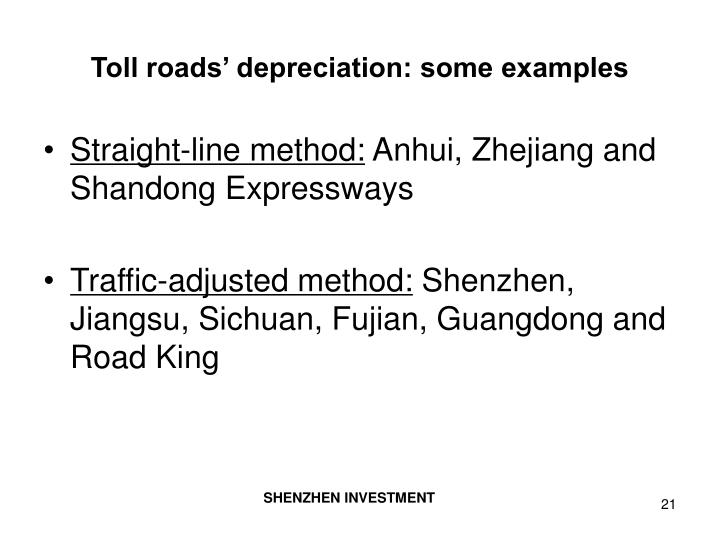 Toll roads' depreciation: some examples