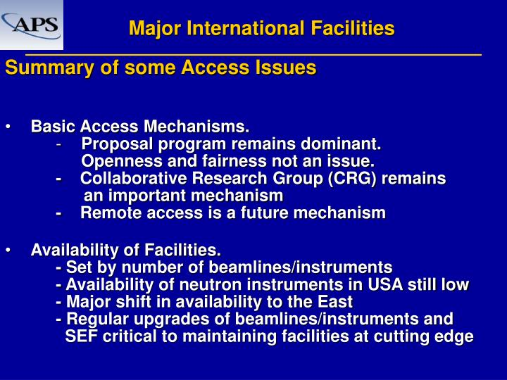 Major International Facilities