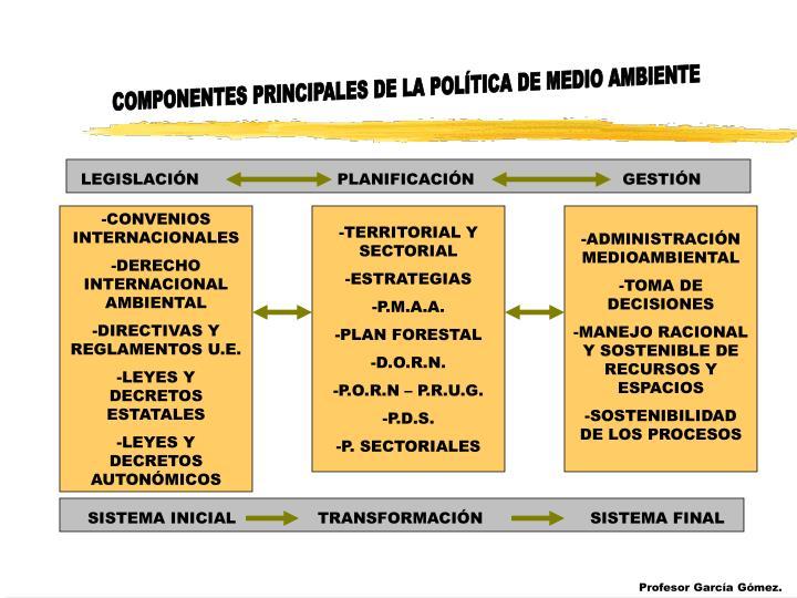 COMPONENTES PRINCIPALES DE LA POLÍTICA DE MEDIO AMBIENTE