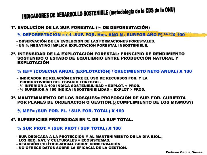 INDICADORES DE DESARROLLO SOSTENIBLE (metodología de la CDS de la ONU)